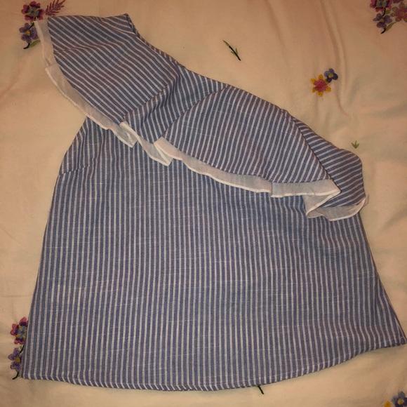 J.O.A. Tops - Striped one-shoulder top